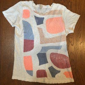 J.Crew Abstract 100% Linen T-Shirt, SZ  Small